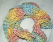 spring scrunchie in muted pastels