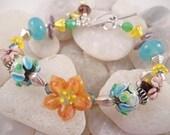 Lampwork Swarovski Sterling Bali Silver Bracelet Tropical Paradise
