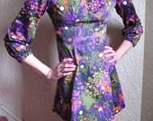 60s Retro MOD Psychedelic Purple Empire Waist MICRO Mini Vintage Gogo Dress