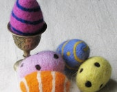 Easter eggs, needle felted from colorful wool in pink, yellow, orange, and blue, set of 5
