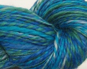 Sky of Blue and Sea of Green, 242 yds worsted weight, hand dyed BFL wool top