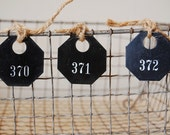 Set of 3 Vintage Plastic Number Tags