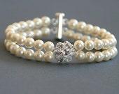 Mia. Two strands Swarovski Crystal Pearls and Swarovski rhinestones bracelet (silver)