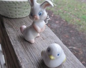 Ceramic Easter Basket with Bunny and Chick