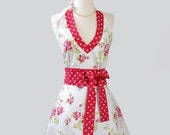 Sexy Halter Hostess Apron / Classy, Flirty and Oh So Beautiful Halter Apron Features Red Rose Bouquets on White from Tanya Whelan