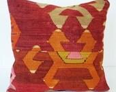 Sukan / Hand Woven - Turkish Antique Kilim Pillow Cover - 16x16