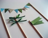 Cake Flag Collection - The Spring Party - Light Blue, Green and Tan - Ready to Ship