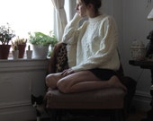 comfy white knit boyfriend sweater