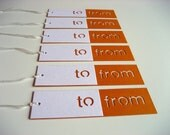 Die Cut To/From Gift Tags in white and orange - Ready to Ship