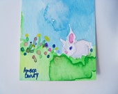 Handmade Watercolor Spring Easter Bunny Bookmark