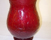 Ruby Red Scrolled Art Glass Vase By Teleflora   Classical Shape