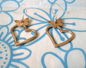 Silver Butterfly Heart Earrings for Japan Relief/ Animal rescue and support