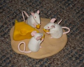 Small Hand Sculpted Three Sharing White Mice