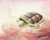 The Turtle, Original watercolor painting, matted and framed, signed by artist, OOAK