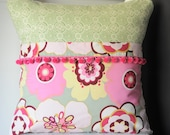 Bible Memory Verse Pillow, Pink and Green Floeral with pink pom pom trim