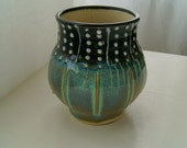 Pottery Cup / Tumbler with Slip Trailing, Blue Green, Black and White