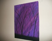 Purple Forest Large Stylized Original Painting 16 x 12 Acrylics on Canvas