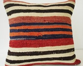 Sukan / Hand Woven - Turkish Striped Kilim Pillow Cover - 18x18