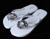 25 Pairs Gray Satin Wedding Flip Flop Decorations Clips for your Wedding Party and Beach Weddings , beach accessories, Bridesmaid, guest