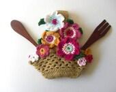 Pot Titular Flores Cesta de Cozinha Crochet Decoração Folhas Tutorial Beig - Pattern PDF