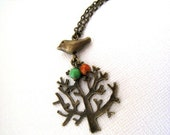 Sale....Antique Brass Bird and Tree Necklace