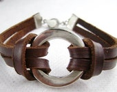 deep brown cowhide leather metal beads bracelets r011