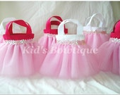 Set of 10 Pretty Pink Princess Sequins Mini Tutu Favor Bags