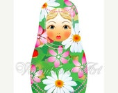 5x7 Matryoshka doll digital print of original illustration. Download and print