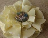 Пасха Вдохновленный Светло-желтый ж / Polkadots Ткань Цветок Clip - готово к отправке