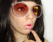 Indecent- Clear Sunglasses Covered in Pink AB Rhinestones