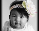 Catherine -- White Flower attached to a soft crochet headband with a pearl secured in center of flower, fits infant to adult