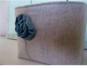 Single Bohemian Poppy Fabric Bin Oatmeal Upcycled Wool