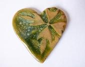 Green Glazed Heart Stoneware Cabachon