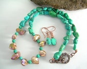 Tuscany Sky - Turquoise and Keshi Pearl Necklace