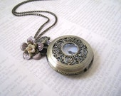 Victorian Style  Filigree Pocket Watch With Flower Necklace