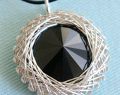 Sterling Silver Wire Wrapped Black Swarovski Crystal Rivoli Pendant Necklace