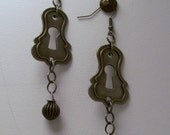 Steampunk Pewter Keyhole Earrings