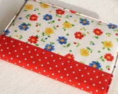 Fabric Journal - Cheerful Flowers With Polka Dots - Handmade Fabric Covered Notebook, Diary - Blue, Red and Yellow Flowers