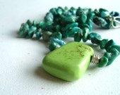 Lime Magnesite Turquoise Sterling Silver Necklace - Beach Bound