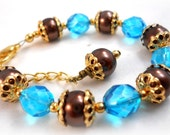 Child Bracelet blue and brown kids jewelry