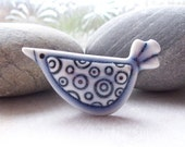 Brooch Porcelain Circle Design Bird Glazed Pale Blue