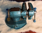 Vintage Turquoise Workbench Vice / Anvil / Tool