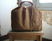 Honey Camel  Tasselled Chic Tote in Suede and  Vintage Brass - Made to Order