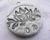 Polymer Clay OOAK Lotus Blossom Om Yoga Pendant Bead