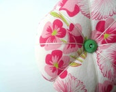 Pollywogs and pigtails. Preppy Pink and Green Pin Cushion.