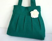 Green Super Pleated Hemp / Cotton Tote Bag - FREE Flower Pin