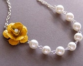 Flower Girl-Yellow Blossom and White Glass Pearl Necklace and Earring Set-(9842)