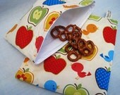 Birds and Apples Sandwich and Snack Bag Set of 2, Reusable