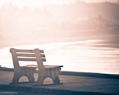 Foggy morning - 8x10 Fine Art Photograph of a wooden bench overlooking Gooch's Beach on a foggy, purple grey morning in Kennebunk, Maine