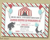 DIY custom printable circus carnival theme birthday invite 5x7 digital file
